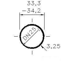 Trubka sv. černá 1 /DN 25/34,2-33,3 x 3,25