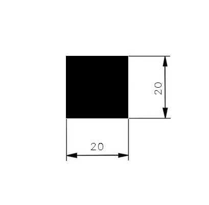 Ocel čtvercová 20mm     1.4301 nerez h11