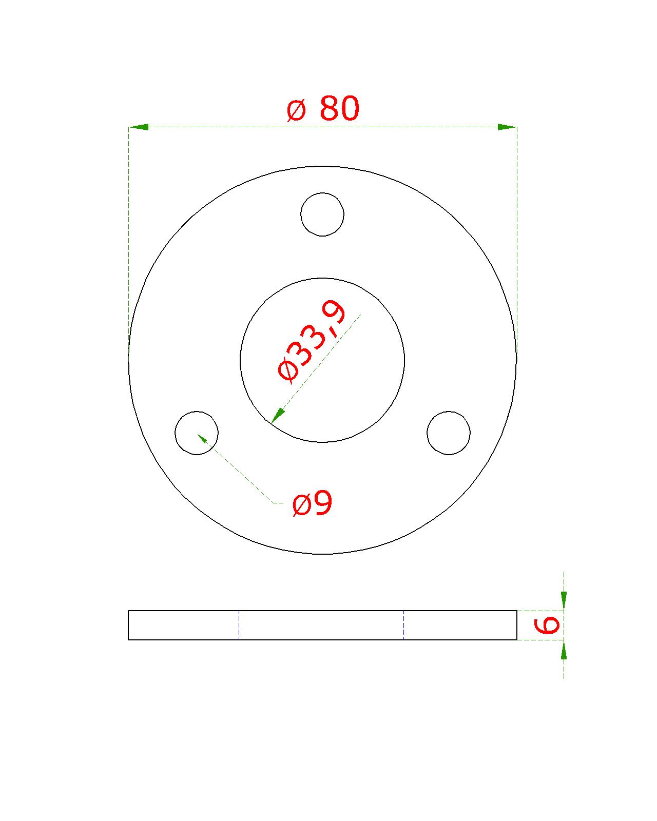 Kotevní deska (ø 80x6 mm) na trubku ø 33,7 mm (otvor ø 33,9 mm), bez povrchové úpravy /AISI304