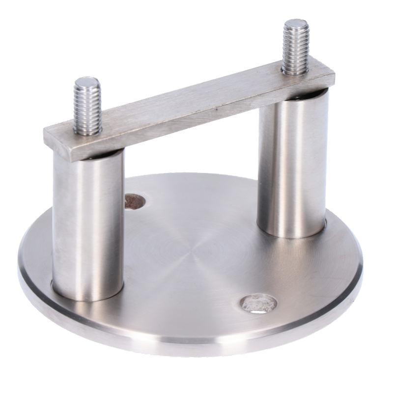 Úchyt na boční kotvení sloupu na jekl, (kotevní deska ø 100 /6mm), broušená nerez K320 /AISI304