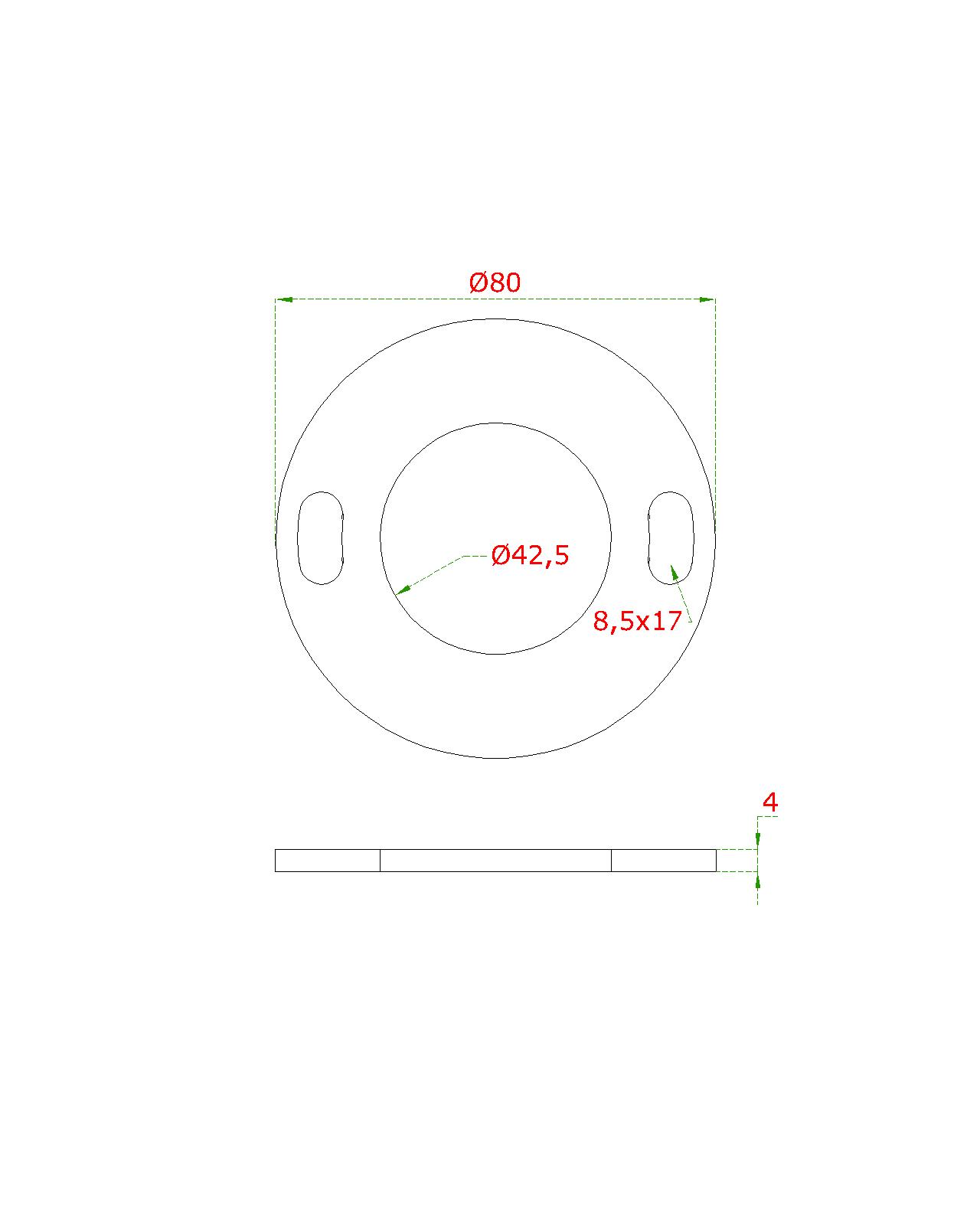 Kotvící plotna (ø 80mm) na trubku ø 42.4mm, bez povrchové úpravy /AISI304