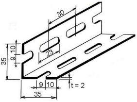 Úhelník ohýb. děr. 35x35x2