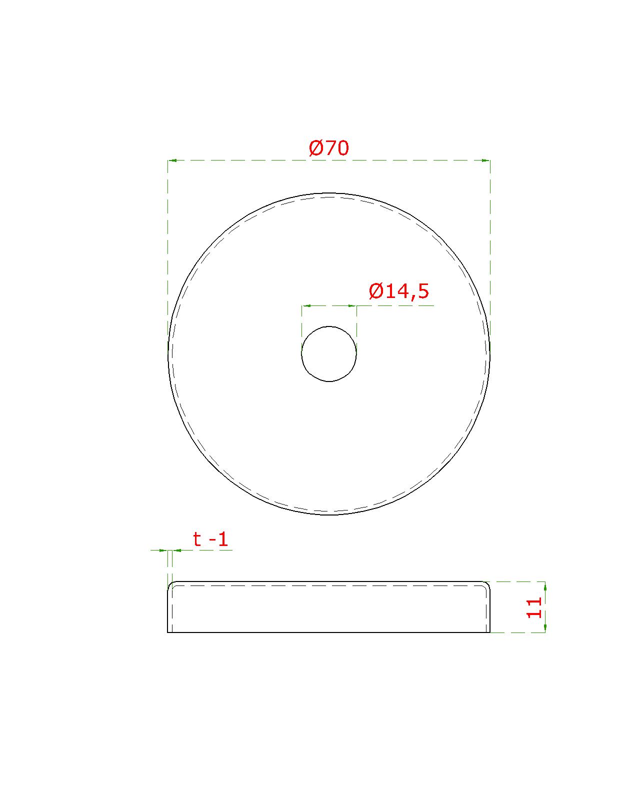 Kryt (ø 76 / 12mm) otvor ø 14.5mm, broušená nerez K320 / AISI304