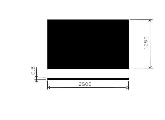 Plech černý 0,80mm/1,25x2,5m/
