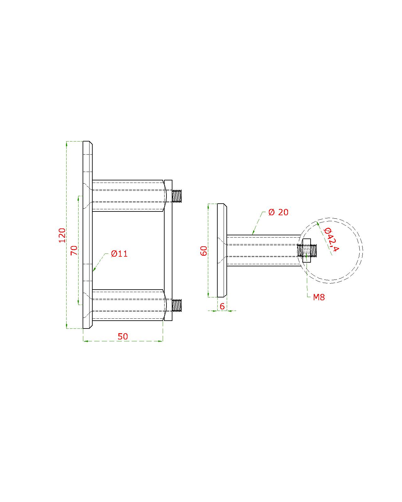Úchyt na boční kotvení sloupu ø 42,4 mm, (kotevní deska 120x60x10 mm), nerez broušená K320 / AISI304