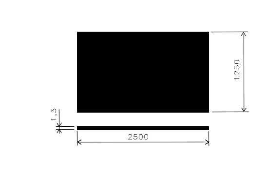 Plech černý 1,30mm/1,25x2,5m/