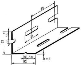 Úhelník ohýb. děr. 52x52x3