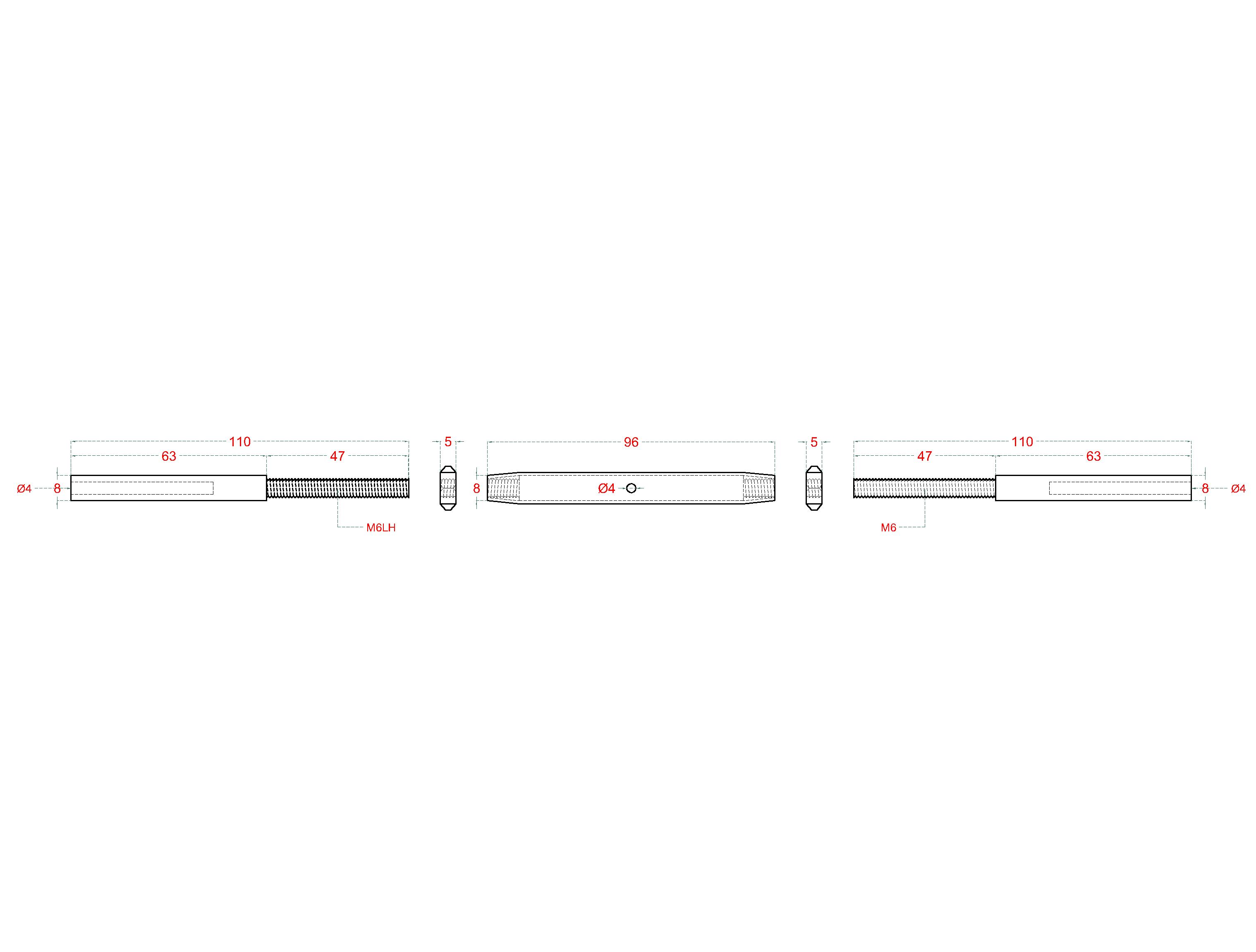 Lepicí úchyt, šponovák pro nerezové lanko ø4mm, se závitem M6 a LH6, broušená nerez K320/ AISI304