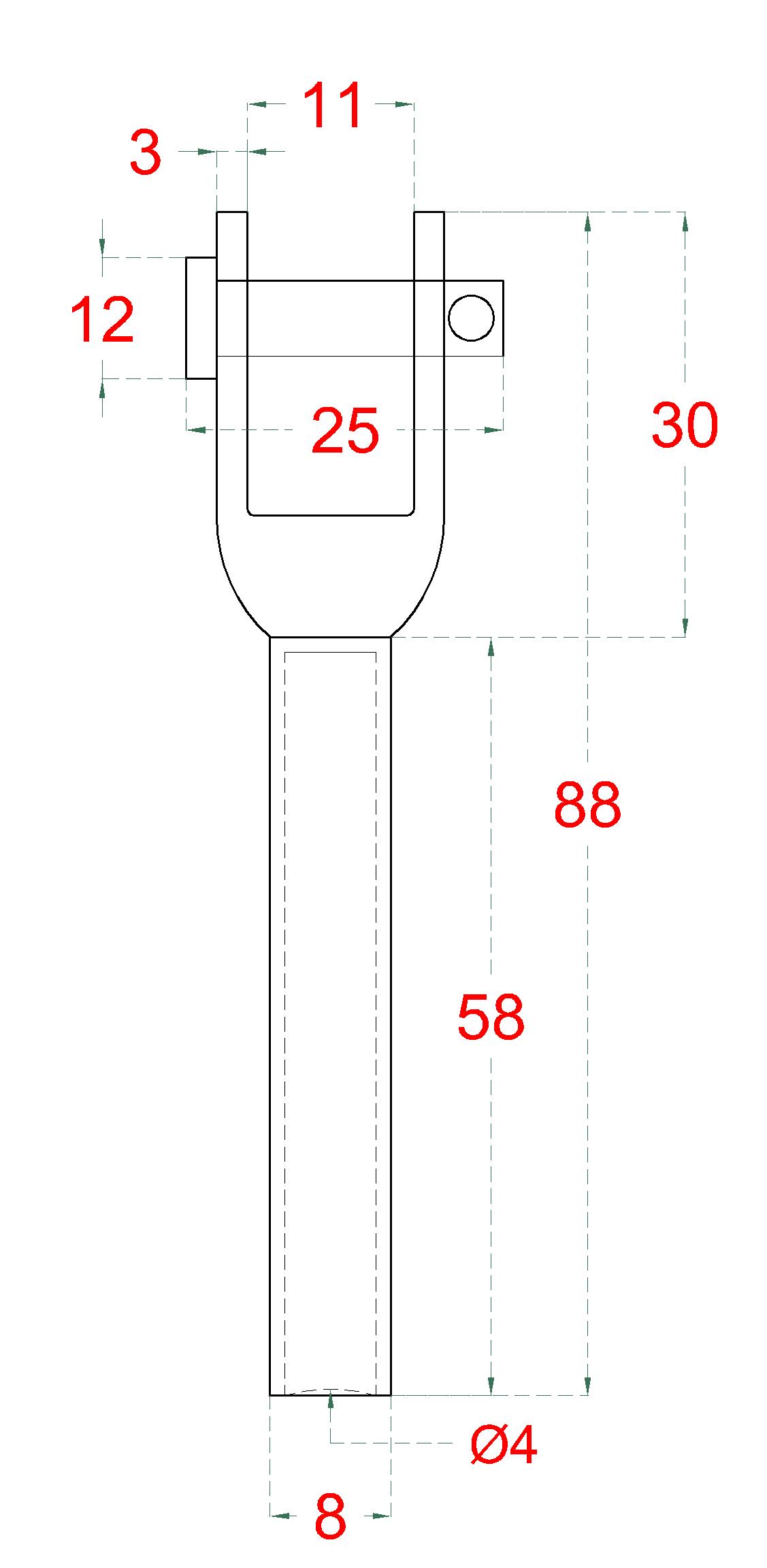 Lepicí úchyt pro nerezové lanko ø4mm, broušená nerez K320/ AISI304
