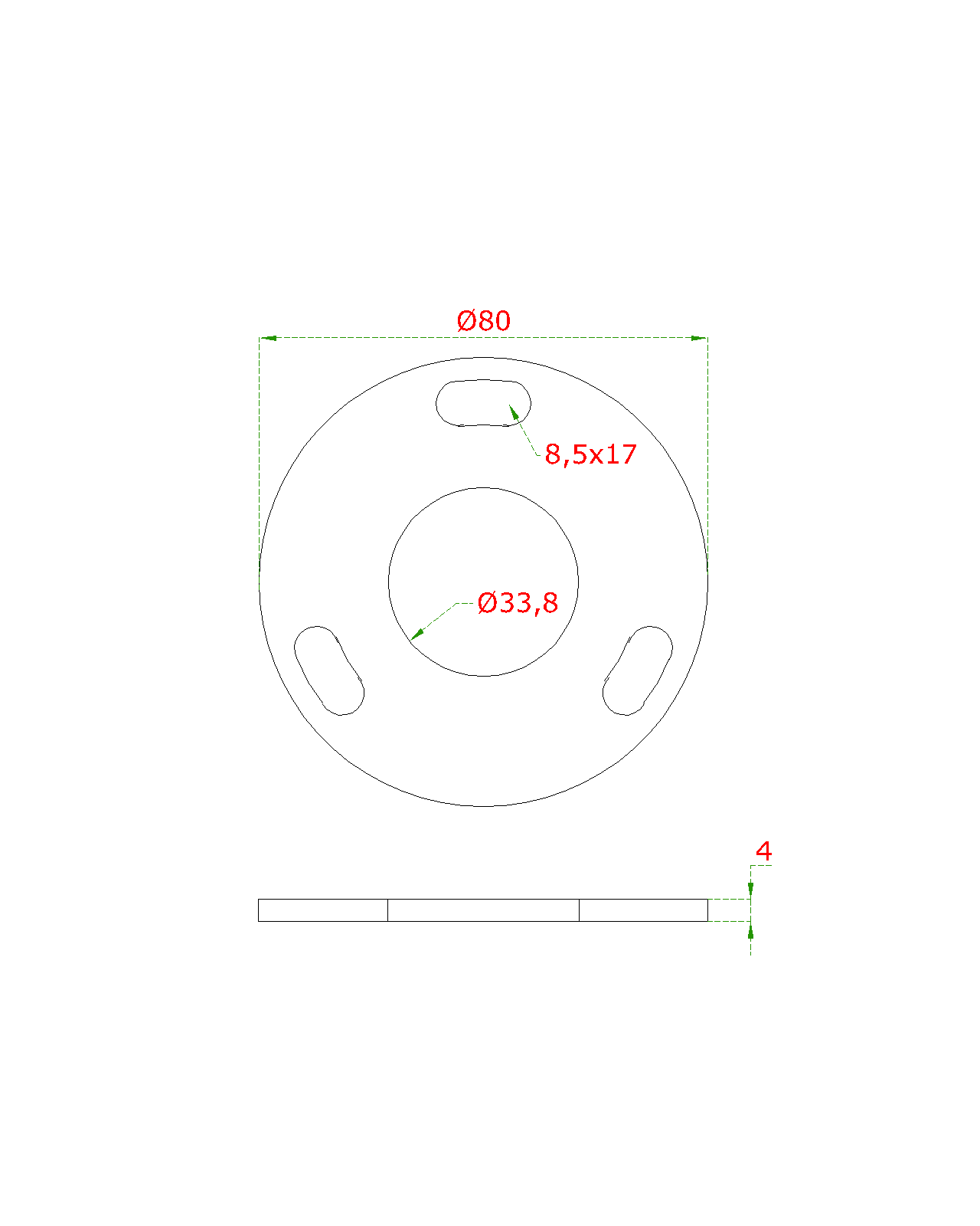 Kotvící plotna (ø 80mm) na trubku ø 33.7mm (otvor ø33.8mm), bez povrchové úpravy /AISI304