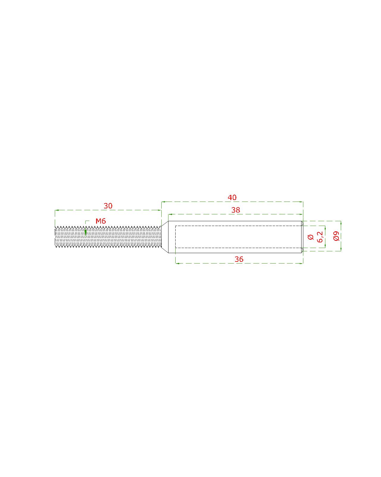 Úchyt (lepící) pro ocelové lanko ø 6 mm s vnějším závitem M6 x 30 mm, (ø 9 mm / L: 70 mm), broušená nerez K320 / AISI304