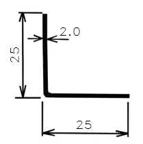 Úhelník ohýb. 25x25x2