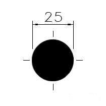 Tažená ocel kruh. 25